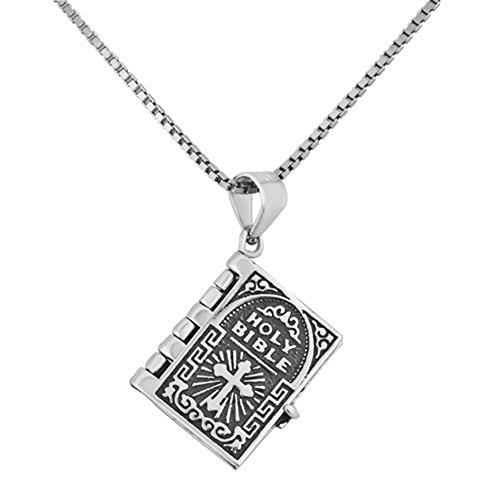 (CharmSStory Sterling Silver Lord's Prayer Holy Bible Verse Religious Christian Pendant Necklace)
