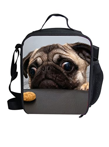 (Reusable Lunch Bags Cute Pet Pug Print Lunch Box For Kids Women Cool Warm Pouch Shoulder Strap Lunch Holder LT-6069G)