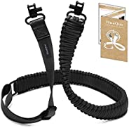 HuaQue Rifle Sling with Swivels, 550# Paracord 2-Point Gun Sling with Quick Adjustable Length Strap & Meta