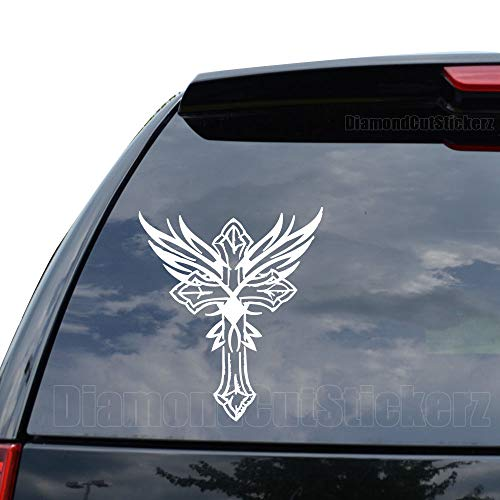 Iron Cross Angel Wings Decal Sticker Car Truck Motorcycle Window Ipad Laptop Wall Decor - Size (05 inch / 13 cm Tall) - Color (Matte White)