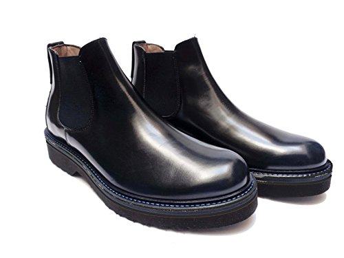 Antica Cuoieria scarpe da uomo mod. beatles in pelle abrasivata Blu, num. 40