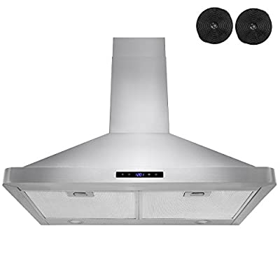 "AKDY 30"" Kitchen Wall Mount Stainless Steel Touch Panel Control Ductless Range Hood LED Touch Control"