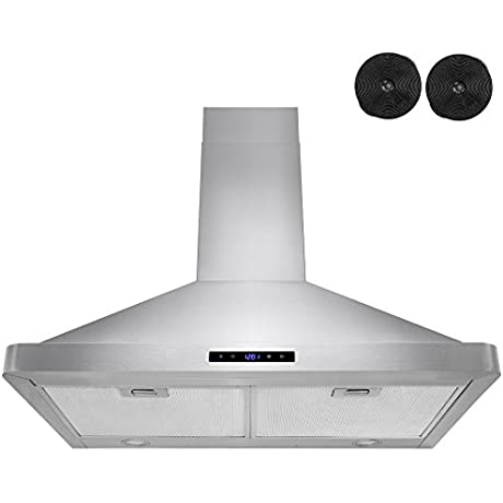 AKDY 30 Kitchen Wall Mount Stainless Steel Touch Panel Control Ductless Range Hood LED Touch Control