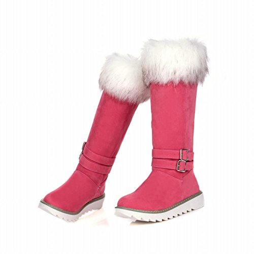 Latasa Womens Cute Nubuck Buckle Strap Platform Low Heel Mid-calf Pull-on Cold Weather Winter Snow Boots Pink 3BaEIZ