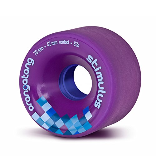 Orangatang Stimulus 70 mm 83a Freeride Longboard Skateboard Wheels (Purple, Set of 4)