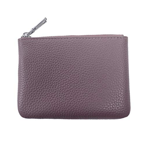 Sueway Genuine Leather Coin Purse Pouch Change Credit Card Holder Zipper Wallet with Key Chain Mini Size (Purple)