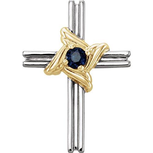 14k White Gold & Yellow Blue Sapphire Cross (Blue Sapphire Yellow Cross)