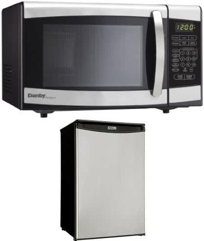 Danby 0.7 cu.ft. Countertop Microwave, Stainless Steel and Danby Compact 4.4 cu. ft. Refrigerator, Spotless Steel Door