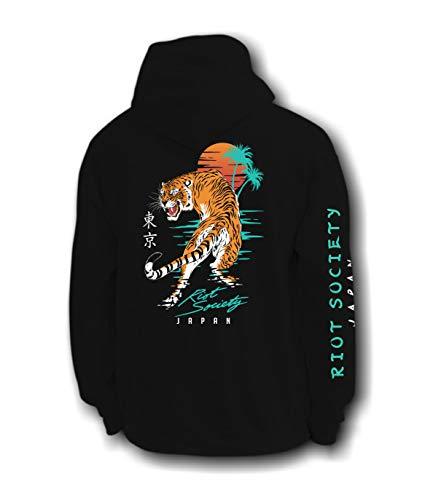 Riot Society Japanese Tiger Sunset Mens Hoodie - Black, XX-Large