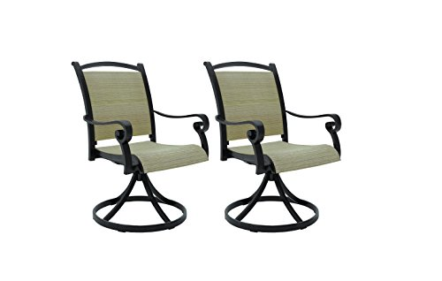 Ashley Furniture Signature Design - Bass Lake Outdoor Sling Swivel Chair - Set of 2 - Rust-Proof Aluminum Frame - Beige & (Aluminum Sling Chairs)