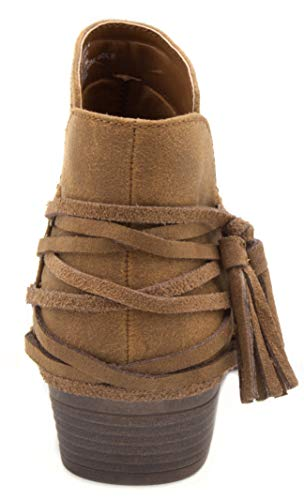 Cognac Boot Women's Trusted Ladies with Ankle Sugar Block Tassels Strappy Bootie Heel wPX767dWq