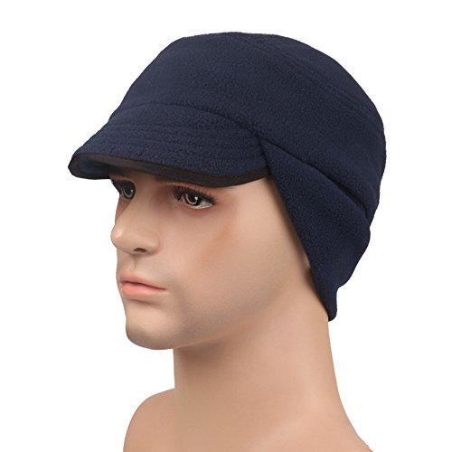 Crazy Cart 3 in 1 Outdoor Winter Warm Skull Cap Windproof Fleece Earflap Hat with Visor Dark Blue