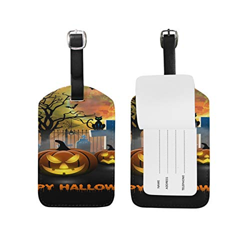 Luggage Tag for Baggage Suitcase Spooky Pumbkin Halloween Leather Travel Bag Address Labels 1 Piece -