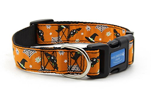 BIG SMILE PAW Nylon Dog Collar Adjustable,Halloween Theme (Halloween Theme Designs)