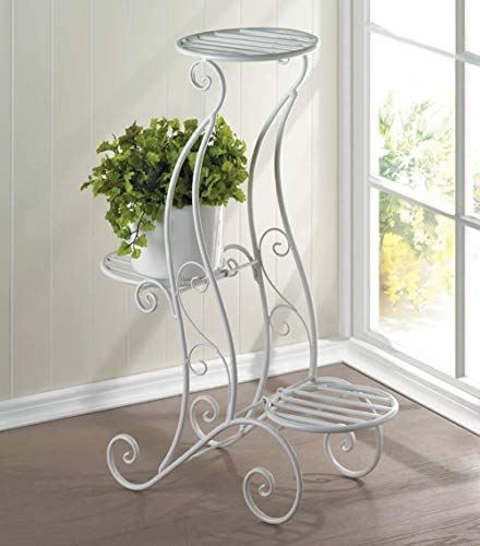 Aspen Tree 3 Tiered Plant Stand Multi Tier Wrought Iron Plant Stands, Decorative Planter Metal Plant Shelf White Round Flower Pot Racks, Garden Plant Lover Gifts for Mother's Day Birthday ()
