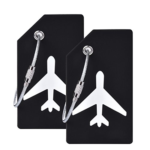 2Pcs Black Silicon Travel Luggage Tags Suitcase Luggage Bag Tags, Travel Airlines Baggage ID Name Label ()