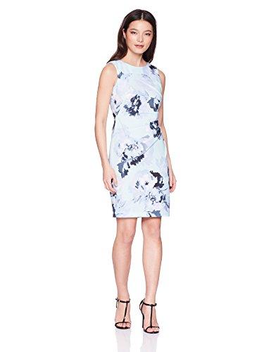 Calvin Klein Women's Petite Sleeveless Starburst Sheath Dress, Serene Multi, 2P