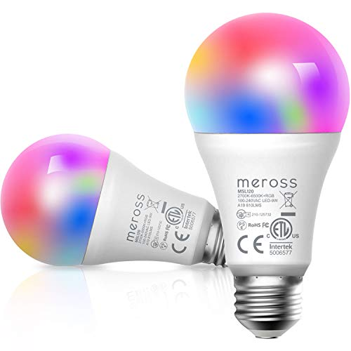 meross Smart Wi-Fi LED Bulb, Multiple Colors, RGB, 810 Lumens 60W Equivalent, Compatible with Alexa, Google Assistant and IFTTT, E26 Light Bulb, No Hub Required – Upgrade Versions (2 Pack)