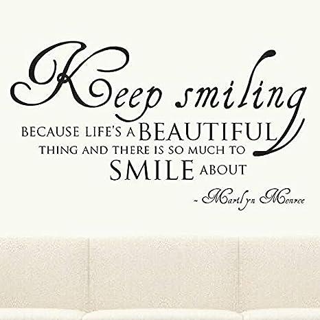 Sigue sonriendo Cita Arte Tatuajes de pared Marilyn Monroe con la ...