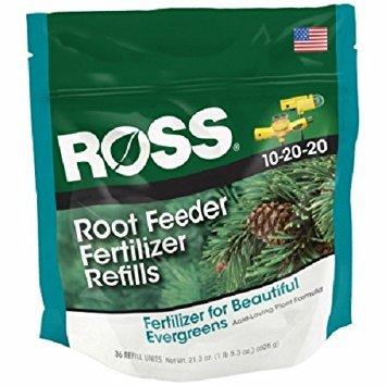 Ross 14266 36 Pack 10-20-20 Evergreen / Acid Loving Plant Fertilizer Refill Cartridges - Quantity 3 - Evergreen Cartridges