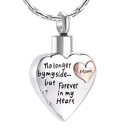 constantlife Grandpa/Grandma/Dad/Mom/Son/Daughter/Brother/Sister Urn Necklace for Ashes Keepsake Cremation Jewelry Heart Charm (Mom)