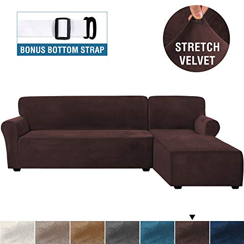 Rich Velvet Stretch 2 Pieces L-Shaped Sofa Covers Anti-Slip Sectional Sofa Slipcovers with Straps Bottom Luxury Thick Velvet Corner Sofa Cover(Large Size=Right Chaise with 2 Seater, Brown)