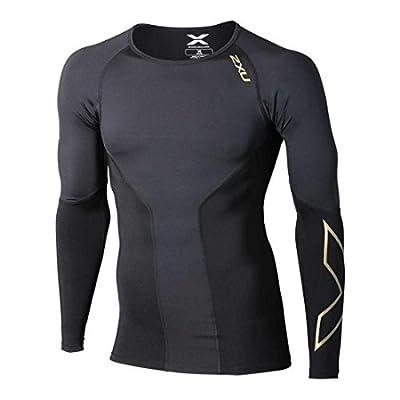 2XU Men's Elite Long Sleeve Compression Top, Black/Gold, Small by 2XU