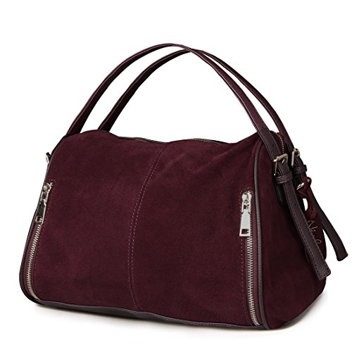 - Nico Louise Women Boston Bag Genuine Suede Leahter Shoulder Travel Bag Casual Handbag (Dark Purple)