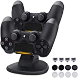 Lasuavy DualShock 4 Dual Charging Station - PS4/PS4 Pro/PS4 Slim Controller Charger Dock with 4 Micro USB Charging Dongles & 2 Extra USB Ports - 8 Thumb Grips for Joysticks Included - Black