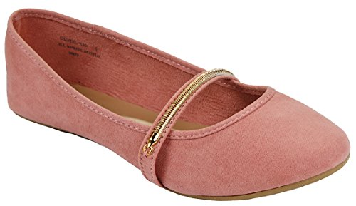 Larisa15 Golden Zipper Decor Mocassino Scarpette Ballerine Piatte Mauve_chantel