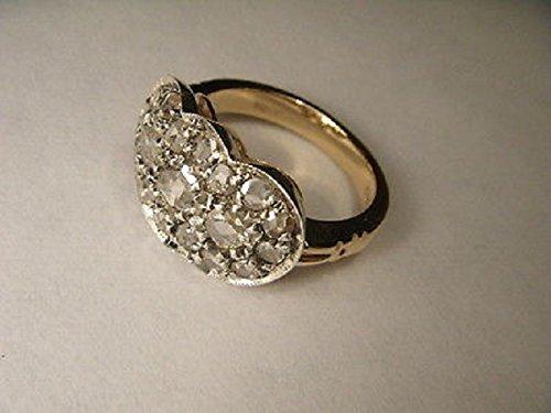 Antique Estate 14K Yellow Gold Pave Old Miner Diamond Filigree Mosaic Ring 14k Yellow Gold Mosaic
