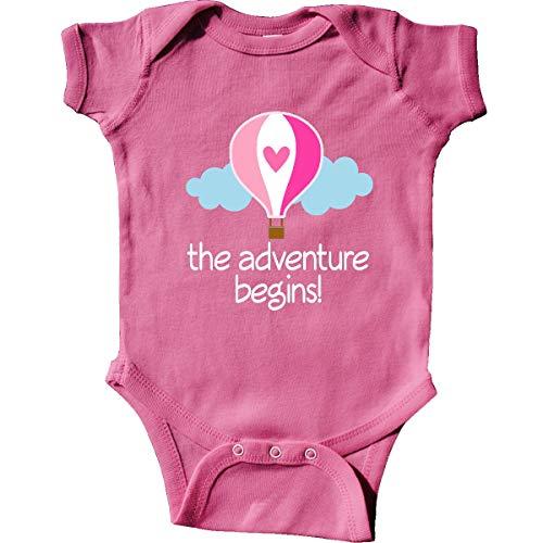 inktastic The Adventure Begins Hot Air Balloon Infant Creeper Newborn Raspberry