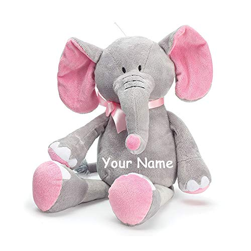 Burton & Burton Personalized Baby Elephant Grey and Pink Plush Stuffed Animal Toy for Baby Girl with Custom Name - 16 Inches