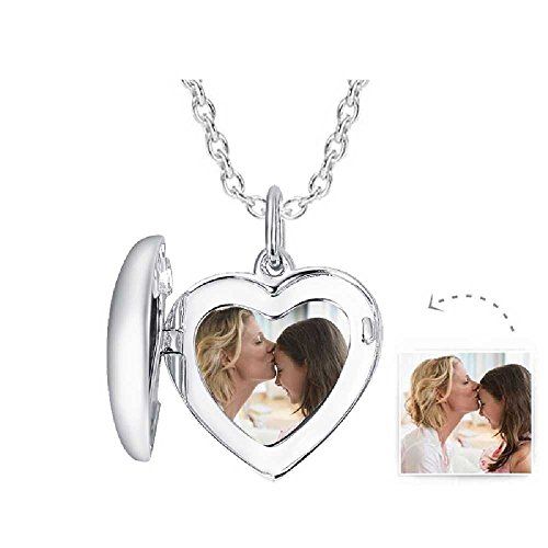 925 Sterling Silver Heart Photo Charms Beads Custom Your Own Picture Art Pendant Fits Pandora Bracelet Necklace Anklet, Memorial Keepsake Gift Birthday Christmas Present (Heart Charm-B) (Art Pendant Photo)