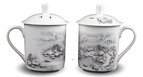 e Tea Cups Coffee Mug (With Lid) Snow Scene Porcelain One Pair Jingdezhen (Scene Porcelain Mug)