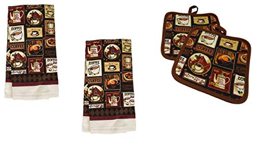 Kitchen Linens - Coffee Cafe - Towel Linen Set of 4 Pieces Coffee Themed Design - Kitchen Towels (2 Each) Potholders - Linen Coffee Set - Kitchen Decor -