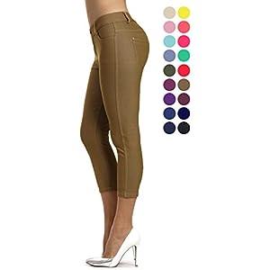Prolific Health Capri Women's Jean Look Jeggings Tights Slimming Many Colors Spandex Leggings Pants (Medium, Khaki)