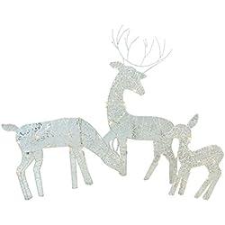 PENN 3-Piece White Glittered Doe, Fawn and Reindeer Lighted Christmas Yard Art Decoration Set