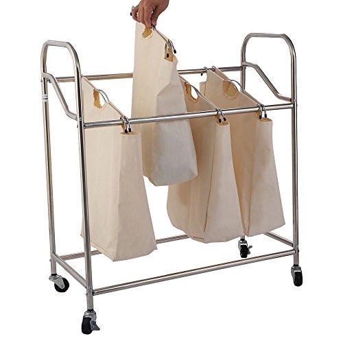 Thegood88 Heavy-Duty 4-Bag Laundry Sorter Rolling Cart Hamper Organizer Beige 4 Wheels