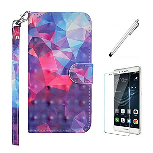 Ttimao Hoesje voor iphone X/XS Flip PU Lederen Portemonnee 3D-Patroon Etui Hoezen+1*Screen Protector met Magnetische…