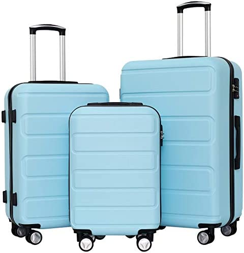 Ceilo Hardside Luggage Sets with TSA Lock Lightweight Suitcase With Spinner Double Wheels,Light Blue,3-piece Set (20/24/28)