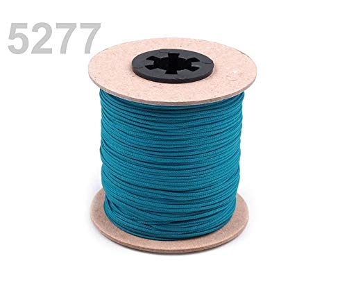 100m 5277 Harbor Blue Polyester Cord PES Ø1.5mm, Wax String, Cord Beads, Cord Poly, Rope Cord, Wax Cord, Cords, and Strings, Haberdashery ()