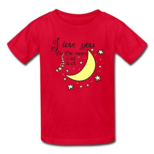 Spreadshirt Kids' I love you to the moon and back T-Shirt, red, S