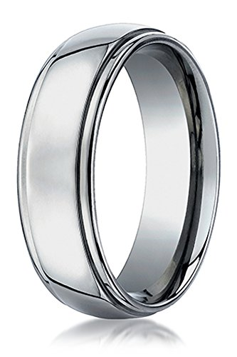 Benchmark Wedding Ring Titanium - Benchmark Titanium 7mm Comfort-Fit Stepped Edge Design Wedding Band Ring, Size 10
