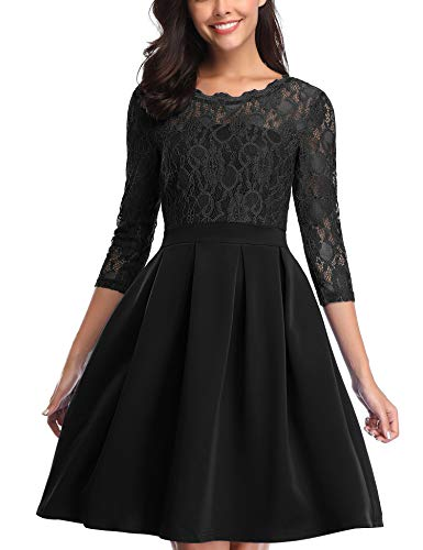 Vintage Cocktail Dresses for Women, 3/4 Sleeve Knee Length A-Line Floral Lace Dress for Party, Black, M -