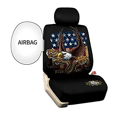 Cool Eagle Car Seat Covers Universal Fit Set American Flag Car Seat Protectors Non Slip Two Toned Front Low Bucket Seat Covers Only for Truck, Minivan, Sedan,SUV: Automotive