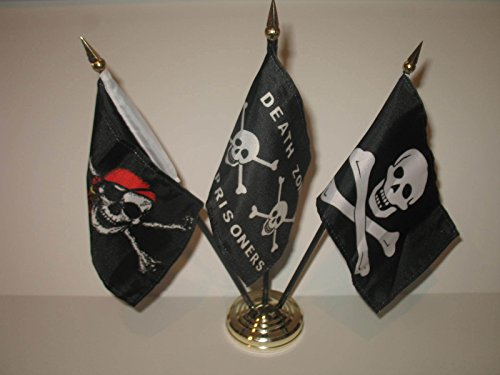 ALBATROS JR Red Hat Death Zone with No Patch Pirate 3 Flags 4 inch x 6 inch Desk Set with Gold Base for Home and Parades, Official Party, All Weather Indoors Outdoors