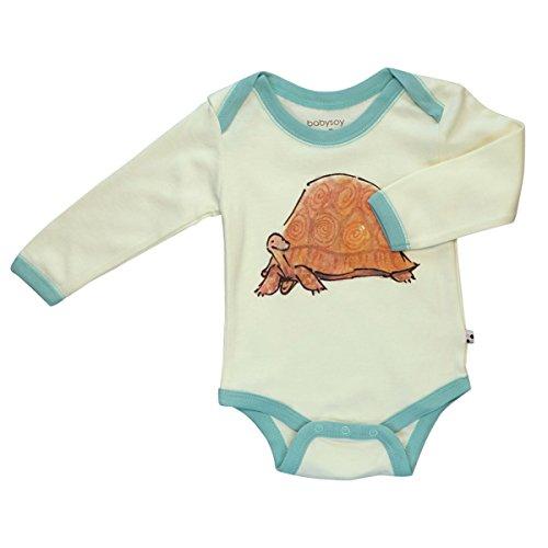 Babysoy Newborn Organic Long Sleeve Animal Print Bodysuit Onesie Romper