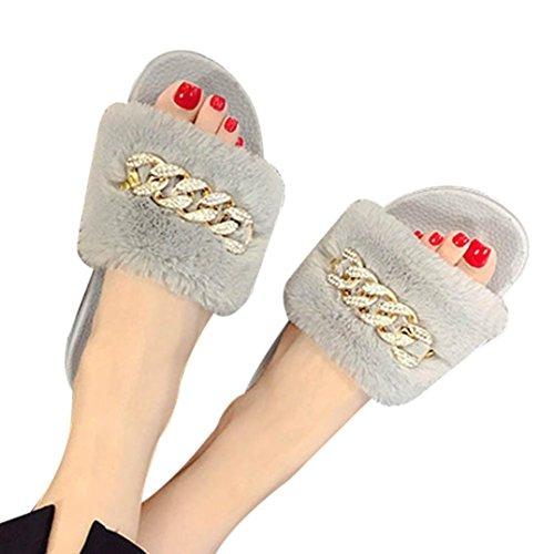 Hunpta Damen Slip On Sliders Flauschige Faux Pelz Flache Pantoffel Flip Flop Sandale Grau