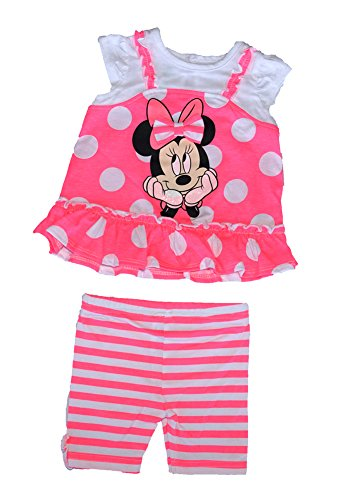 Minnie Mouse Polka Dot T Shirt & Striped Bike Short Outfit